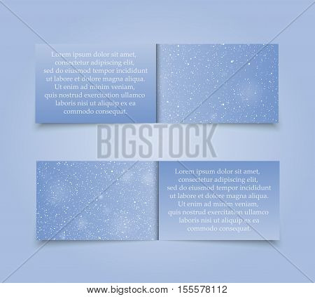 Set of Horizontal Paper Blue Rectangle Banners Template. Vector Illustration. Snow, Blizzard. Winter Holiday New Year and Christmas. Winter Sale and Discount. Mock up, Card.