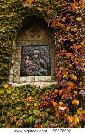 Icon of a Virgin Mary with Christ on a church wall at Kalemegdan fortress, Belgrade, Serbia