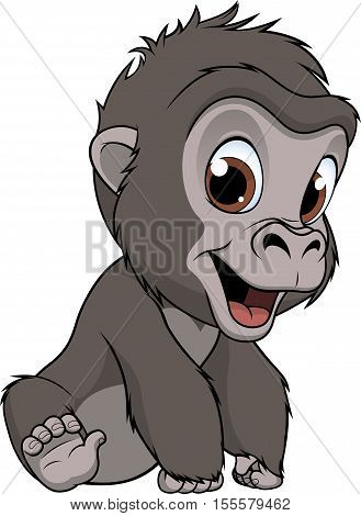 Vector illustration, a cute baby gorilla, on a white background