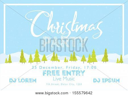 Christmas Festival and Party template. Snow tree mountains landscape horizontal background. Template for holidays concerts and parties. Winter theme.