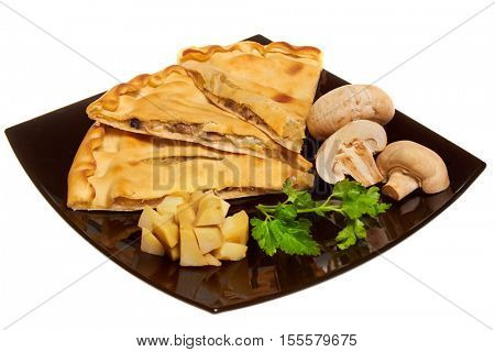 fresh homemade pie isolated on white background