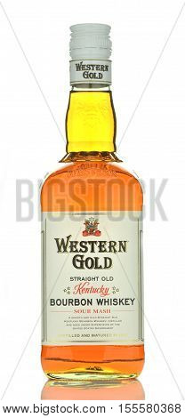 CIRCA OCTOBER 2016 - GDANSK: Western Gold bourbon whiskey isolated on white background. Western Gold is distilled and matured in Kentucky, USA. It is mellowed and aged in oak casks.