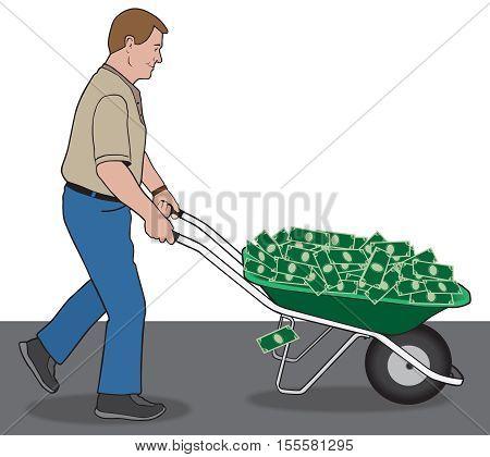Man is using a wheelbarrow to transport his winnings