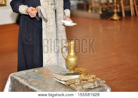 Priest during a ceremony in christian church