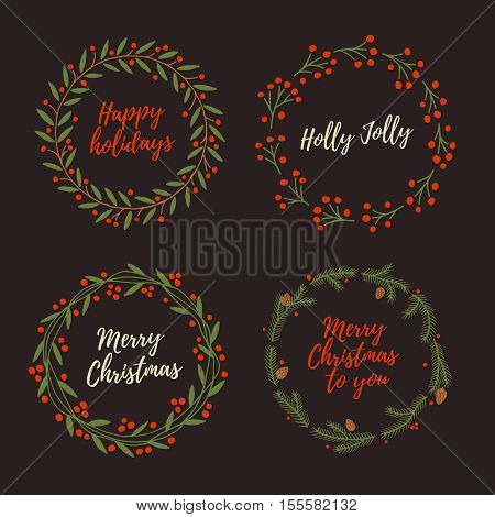 Set Christmas hand drawn wreath. Greeting wreaths with calligraphy. Christmas decorations and elements.