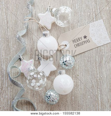 Various christmas baubles and glittery xmas decorations