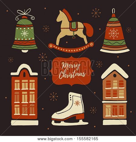 Christmas decorations and set elements: Christmas toys, rocking horse, skates, houses in the snow. Merry christmas and Happy new year. Hand-drawn illustration.