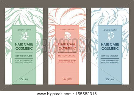 Vector set of templates color packaging hair care cosmetic, label, banner, poster, branding. Curls tresses hair, floral design elements. Design for shampoo, conditioner, mask