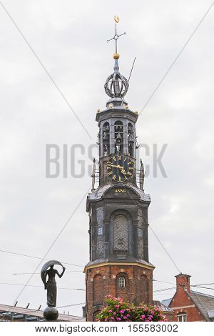 The spire of cathedral tower in Leiden, Holland