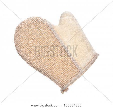 Exfoliating massage glove isolated on white
