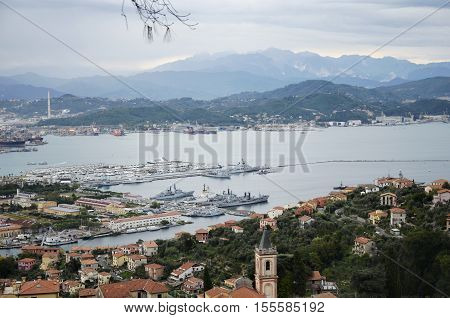 La Spezia Italy - October 11 2016: Panoramic view of the port of La Spezia in a cloudy autumn day