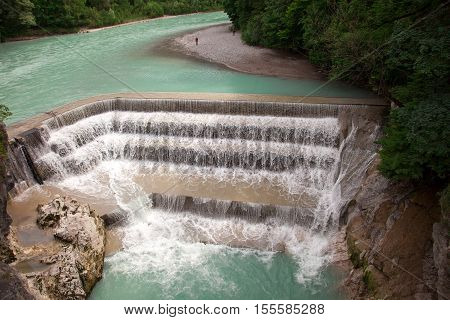 Lechfall. Beautiful waterfall near the town of Fussen Germany
