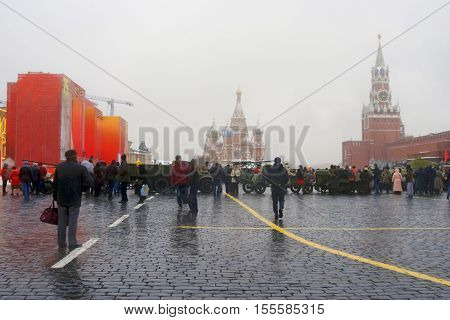 MOSCOW -NOVEMBER 04 2016: Military equipment shown on the Red Square in Moscow on occasion of historical military parade (November 07 1941) anniversary.