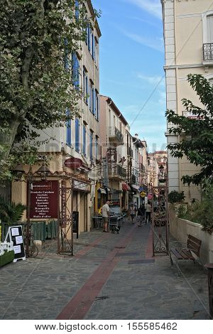 CERBERE, FRANCE - OCTOBER 04, 2016: Pedestrian zone of the French mediterranean village Cerbere, near the Spanish border