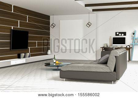 3D Rendering : Illustration Of White Living Room Interior Design With Dark Sofa.blank Picture Frames