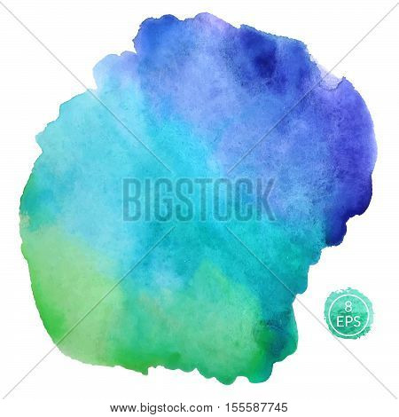 Vector. Big watercolor blot isolated on white background. Colorful hand drawn watercolor blot for your design.
