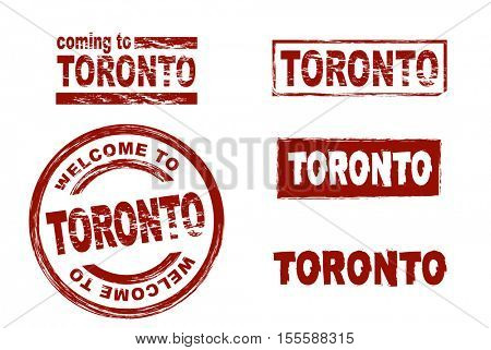 Stylized set of ink stamps showing the city of Toronto. All on white background.
