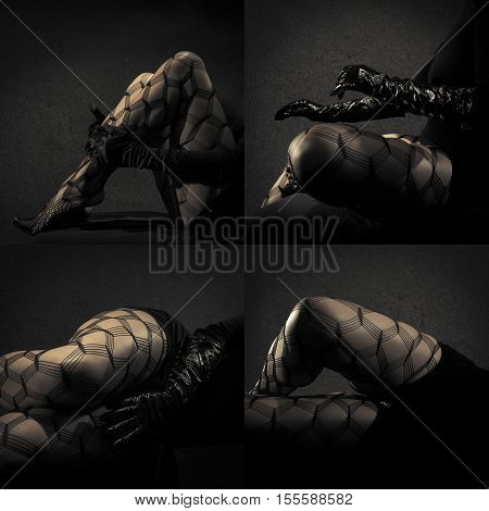 Low key special toned photo polyptych of sexy female nude legs in net tights and hands in black leather gloves against dark background horizontal view