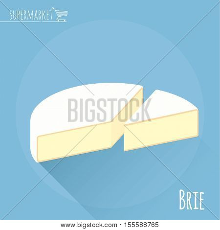 Flat design Brie cheese vector icon  on light blue background with long shadow