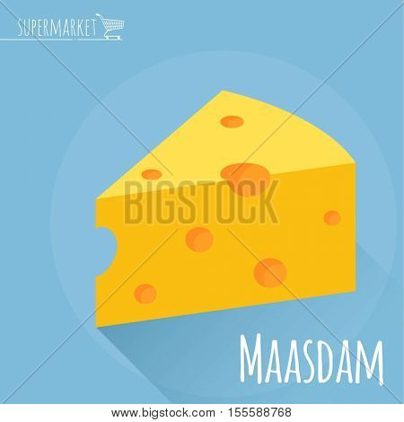 Flat design Maasdam cheese vector icon  on light blue background with long shadow