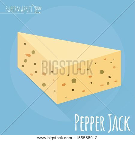 Flat design Pepper Jack cheese vector icon  on light blue background with long shadow