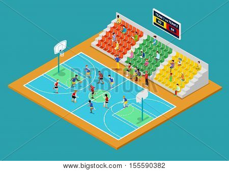 Isometric Basketball Playground with Players and Fans. Vector 3d flat illustration