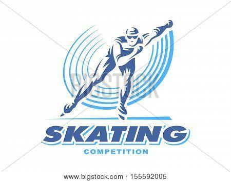 Winter sports - skating. Illustration man on white background