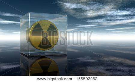 nuclear symbol under cloudy sky - 3d illustration