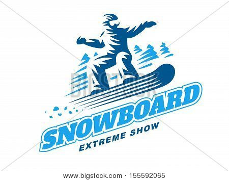 Snowboarding emblem Illustration man on white background