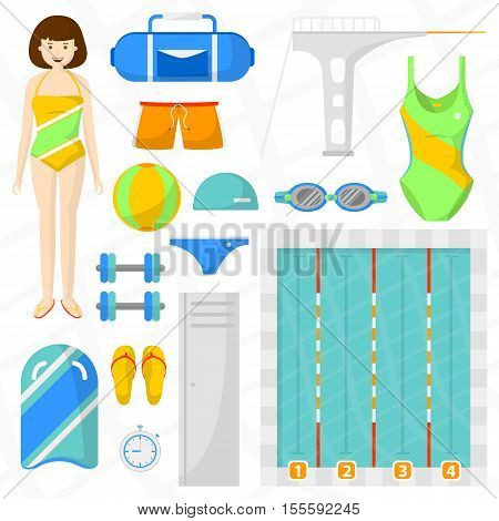 Set of flat swimming icons. Sports equipment for swim and jumping: pool with water and ball, towel, bag and swimmer, board, swimwear and watches. Vector isolated illustration