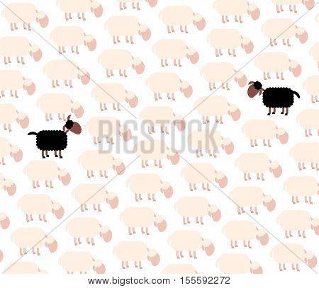 Black sheep - fellow sufferer - among white sheep flock.