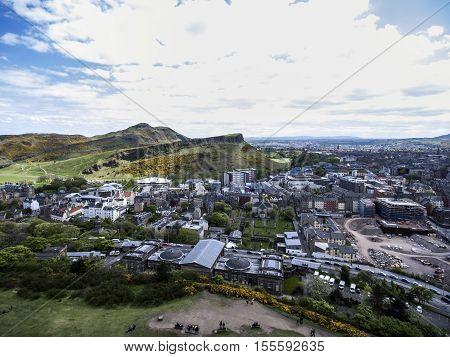 Edinburgh city the historic Arthur Seat sunny Day Aerial shot
