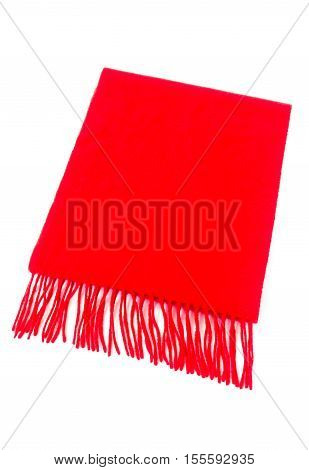Luxurious red cashmere scarf out of pure cashmere wool isolated on white background.