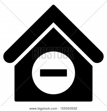 Deduct Building vector icon. Flat black symbol. Pictogram is isolated on a white background. Designed for web and software interfaces.