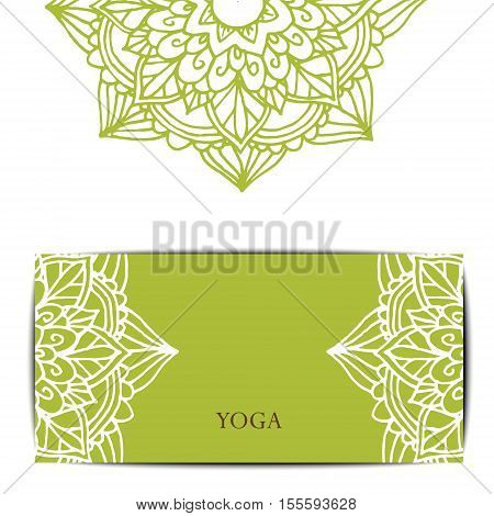 Gift card template for studio or class yoga retreat. Vector editable pattern