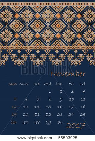 2017 Calendar planner with ethnic cross-stitch ornament Week starts on Sunday Vector illustration. From collection of Balto-Slavic ornaments
