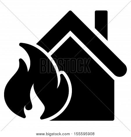 Realty Fire Disaster vector icon. Flat black symbol. Pictogram is isolated on a white background. Designed for web and software interfaces.