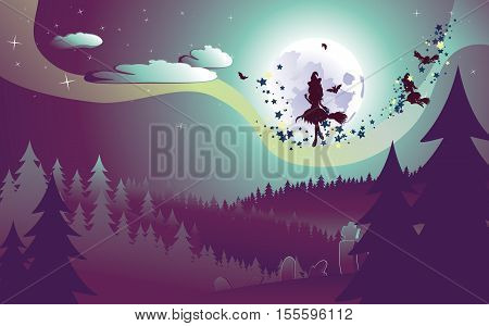 Flying Witch In The Woods