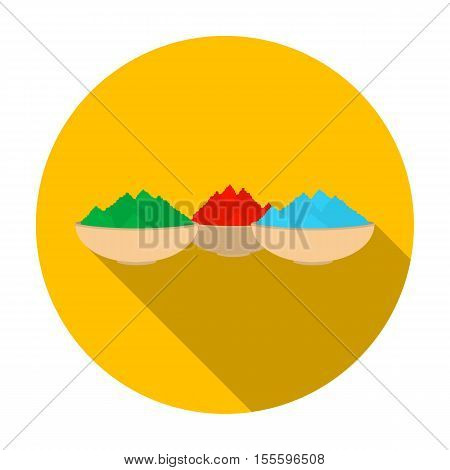 Colorful powder icon in flat style isolated on white background. India symbol vector illustration.