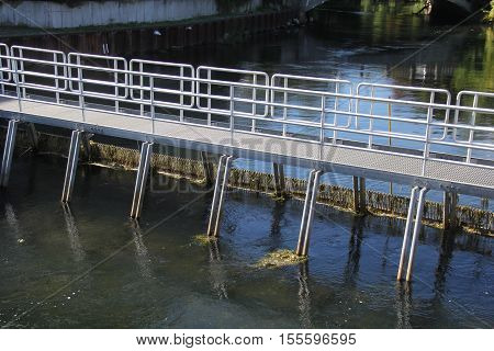 A fishing wier across the Boardman River in Traverse City, Michigan.