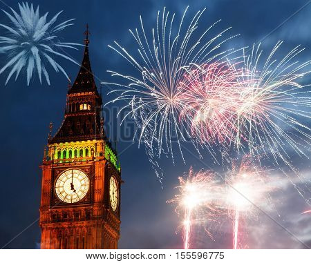 explosive fireworks around Big Ben. New Year's Eve celebration background
