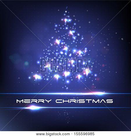 Xmas tree star light. Merry christmas.. Vector illustration.