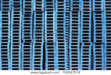 blue pallets stacked background pattern pile storage