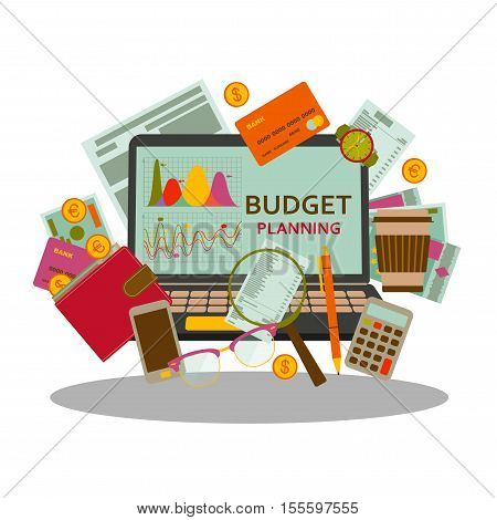 Budget planning concept in flat style. Modern design for web banners, web sites, infographic. Vector illustration.