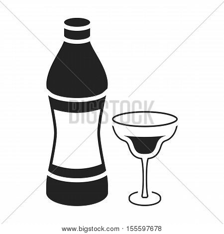 Vermouth icon in black style isolated on white background. Alcohol symbol vector illustration.
