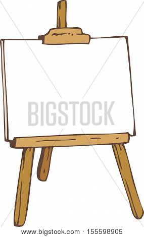 White Paper on the Wooden Easel. Isolated on a White