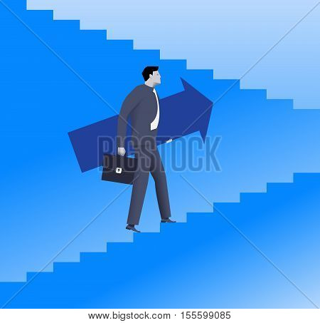 Raising up career ladder business concept. Confident businessman in suit and with case raising up the ladder holding big arrow. Career opportunities and career ladder. Vector illustration