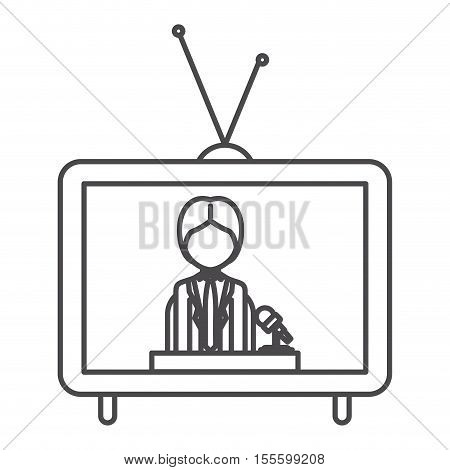 Journalist inside tv icon. Broadcasting news technology media and communication theme. Isolated design. Vector illustration