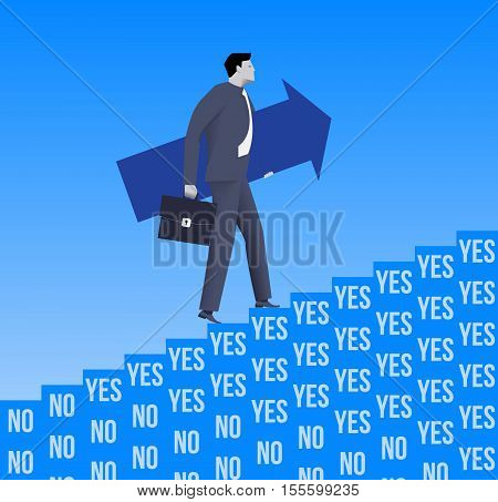Career ladder opportunities business concept. Confident businessman in suit and with case and big arrow raising up the ladder created from YES and NO blocks with only YES blocks presented near top.
