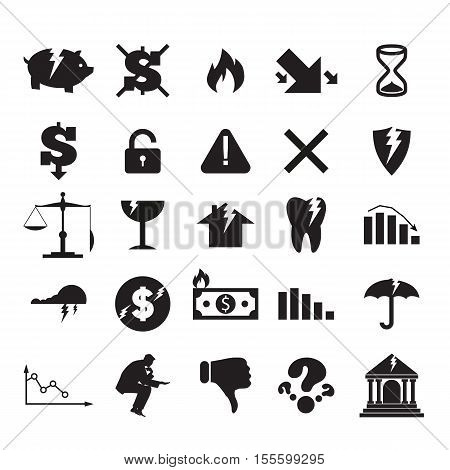 Set of black crisis business signs and logos isolated on white background. Cracking bank burning money broken piggy bank falling graph broken umbrella open lock broken shield empty sandglass